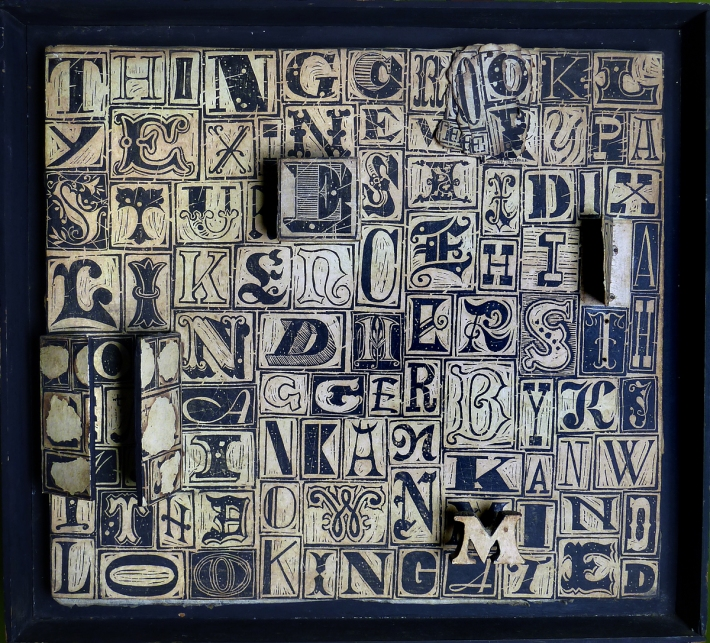 """100 Letter Word, 1962, 20 5/8"""" x 22 5/8"""" (From the collection of Julie """"Satch"""" Kern)"""