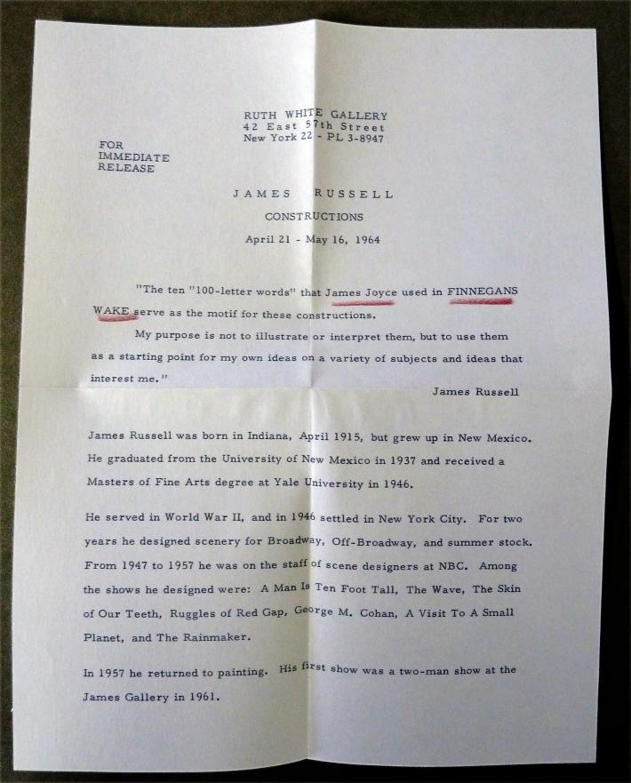 Ruth White Press Release, 1964