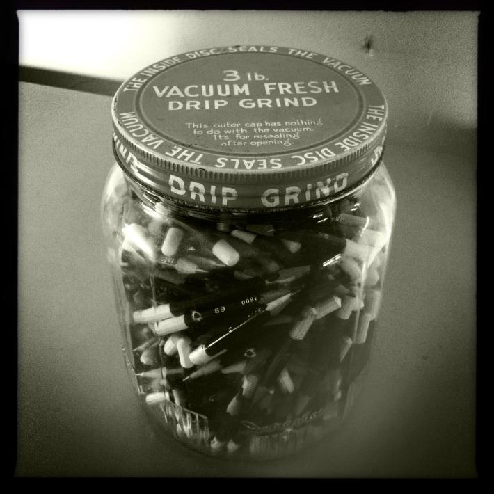 Jim's pencils in a coffee jar