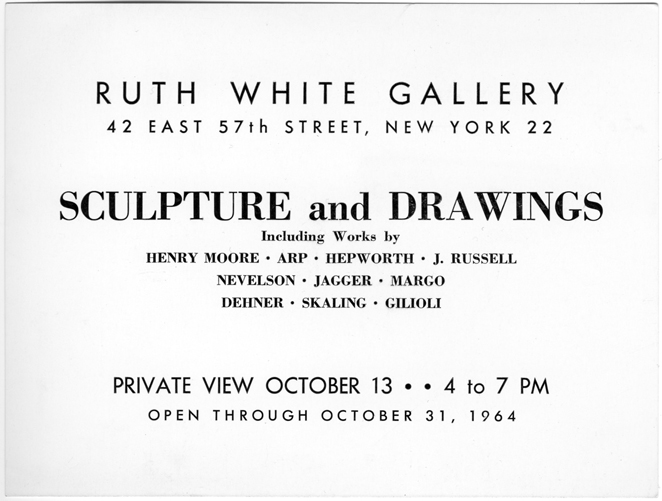 Ruth White Group Show, 1964, Gallery Card