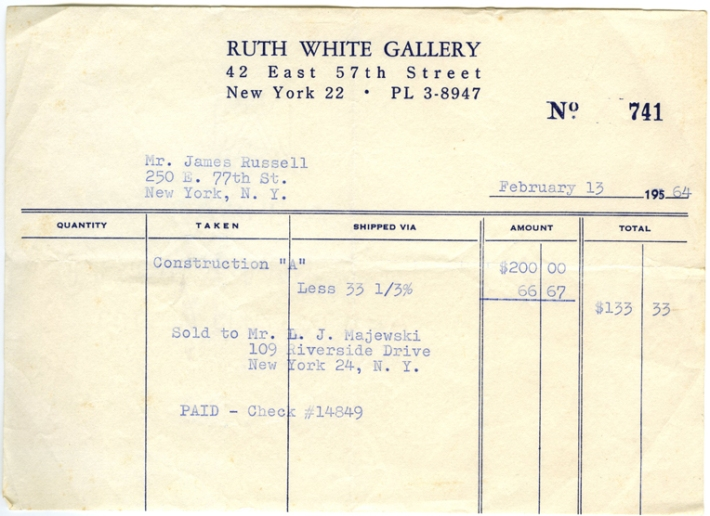 Ruth White Gallery receipt for sale to Lawrence Majewski