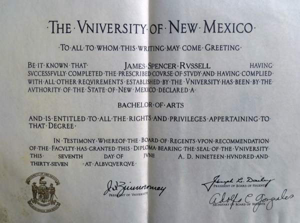University of New Mexico Diploma