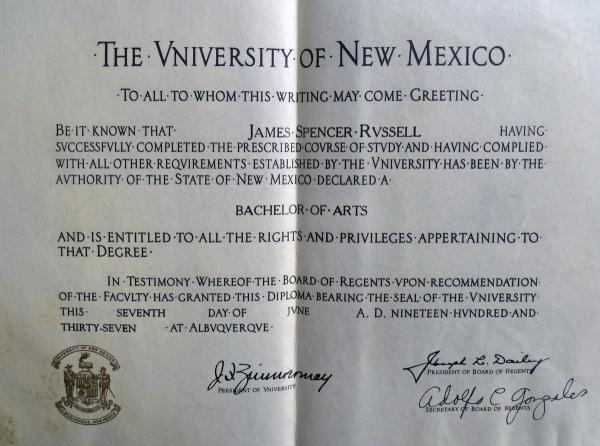 University of New Mexico Diploma
